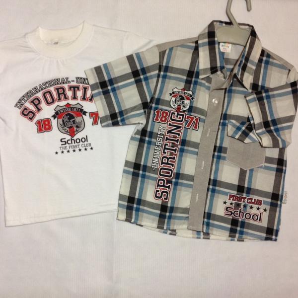 детская одежда недорого Двойка/ рубашка +футболка