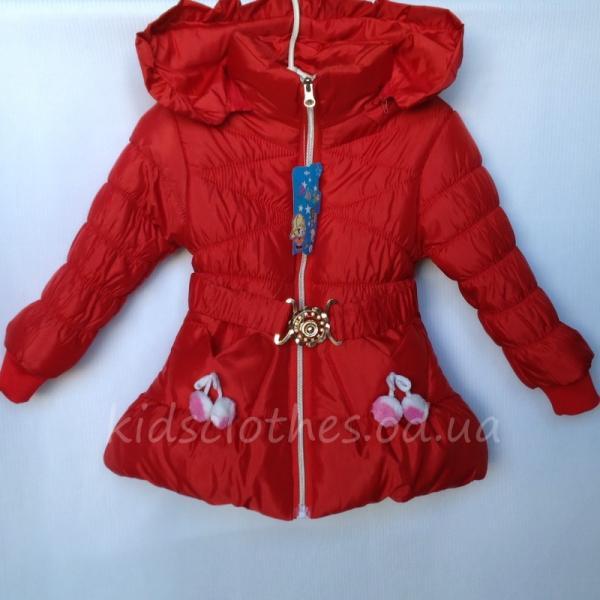 Куртка детская для девочек утепленная красная