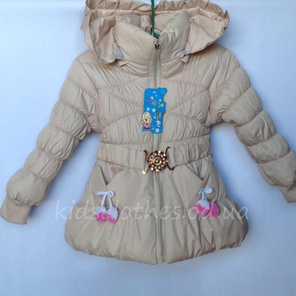 Куртка детская для девочек утепленная бежевая