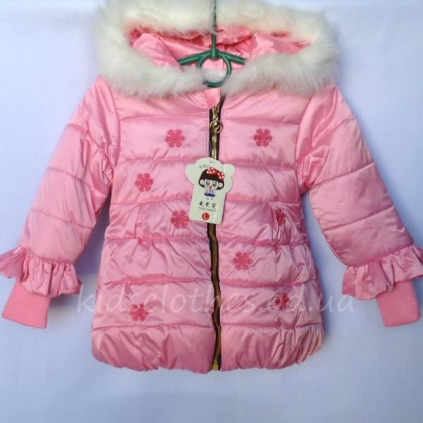 """Куртка для девочек утепленная """"Снежинка"""" розовая"""