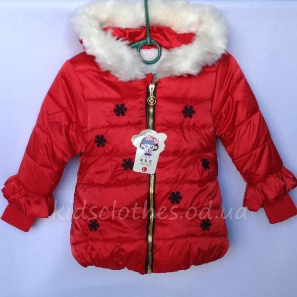 """Куртка для девочек утепленная """"Снежинка"""" красная"""