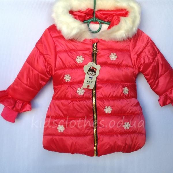 """Куртка для девочек утепленная """"Снежинка"""" кораллова"""