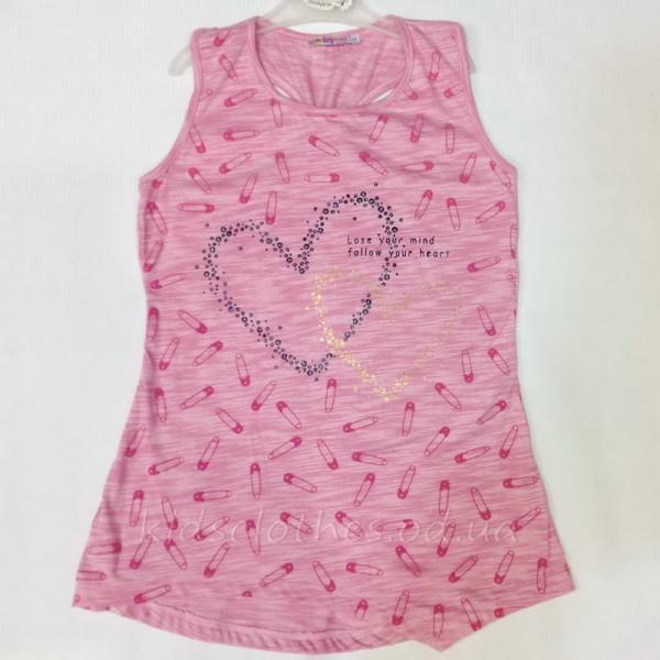 Туника-майка детская летняя для девочек -Walenti- розовая 9-12 лет
