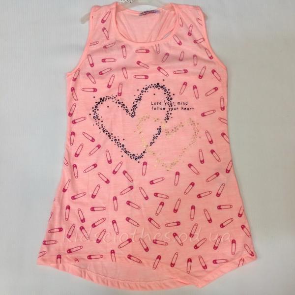 Туника-майка детская летняя для девочек -Walenti- светло-розовая 9-12 лет