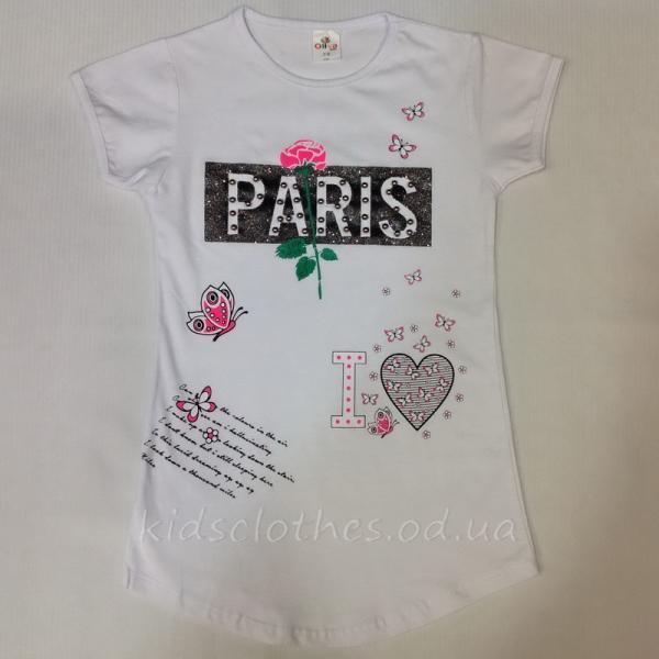 детская одежда недорого Футболка детская летняя для девочек -Paris-Oliva Kids- белая 8-12 лет