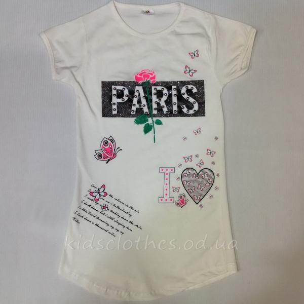 детская одежда недорого Футболка детская летняя для девочек -Paris-Oliva Kids- молочная 8-12 лет
