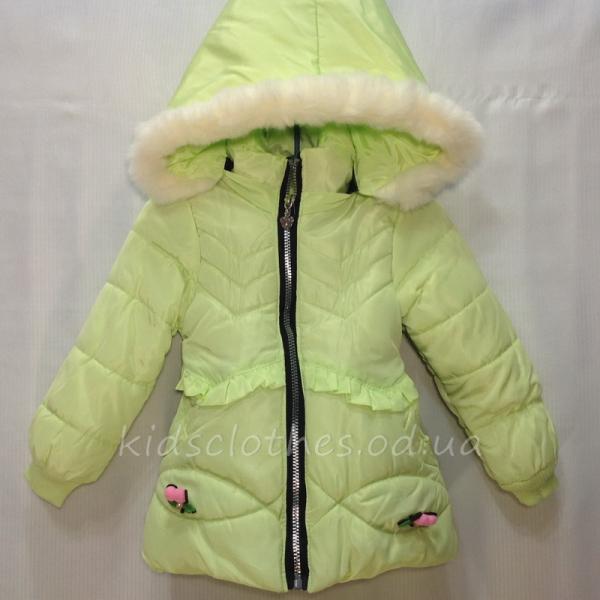 Куртка детская демисезонная утепленная для девочек - JingPin- салатовая 1-4 года