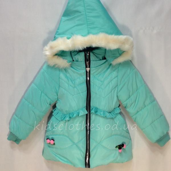 Куртка детская демисезонная утепленная для девочек - JingPin- светло-бирюзовая 1-4 года