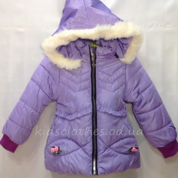 Куртка детская демисезонная утепленная для девочек - JingPin- сиреневая 1-4 года