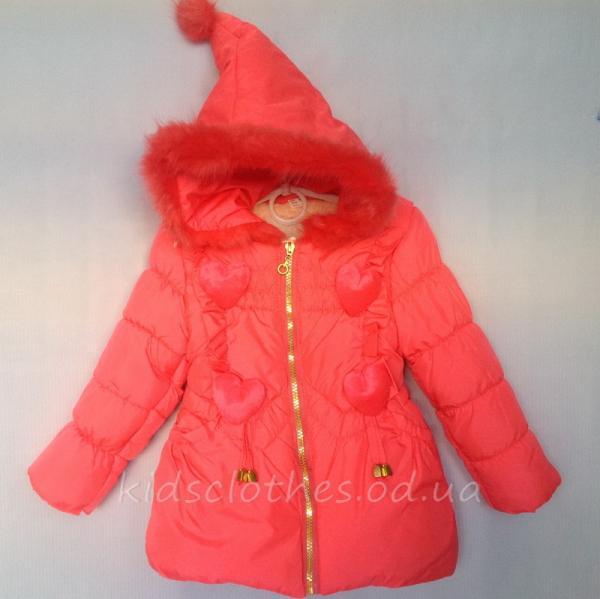 Куртка детская демисезонная утепленная для девочек - KaiKai- светло-коралловая 2-5 лет