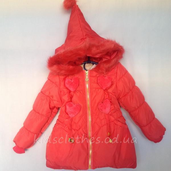 детская одежда недорого Куртка детская демисезонная утепленная для девочек - KaiKai- коралловая 2-5 лет