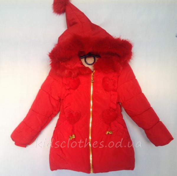 детская одежда недорого Куртка детская демисезонная утепленная для девочек - KaiKai- красная 2-5 лет