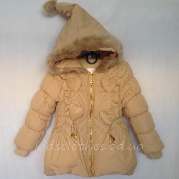 детская одежда недорого Куртка детская демисезонная утепленная для девочек - KaiKai- бежевая 2-5 лет