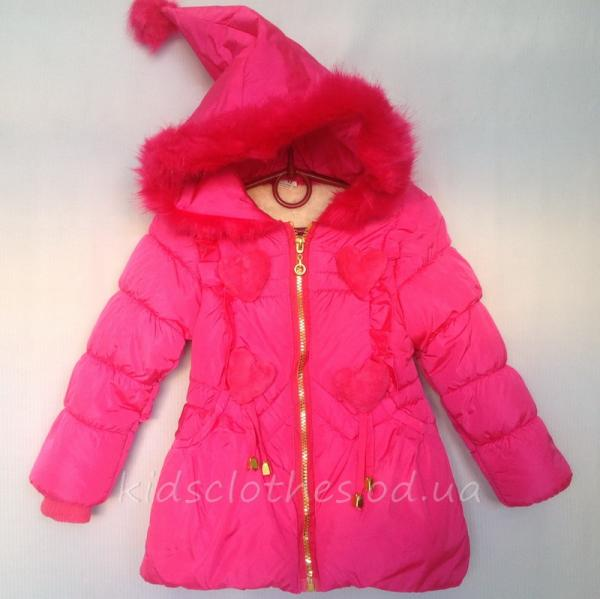 Куртка детская демисезонная утепленная для девочек - KaiKai- малиновая 2-5 лет