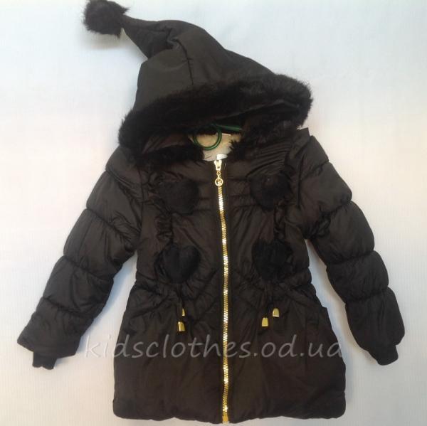 детская одежда недорого Куртка детская демисезонная утепленная для девочек - KaiKai- черная 2-5 лет