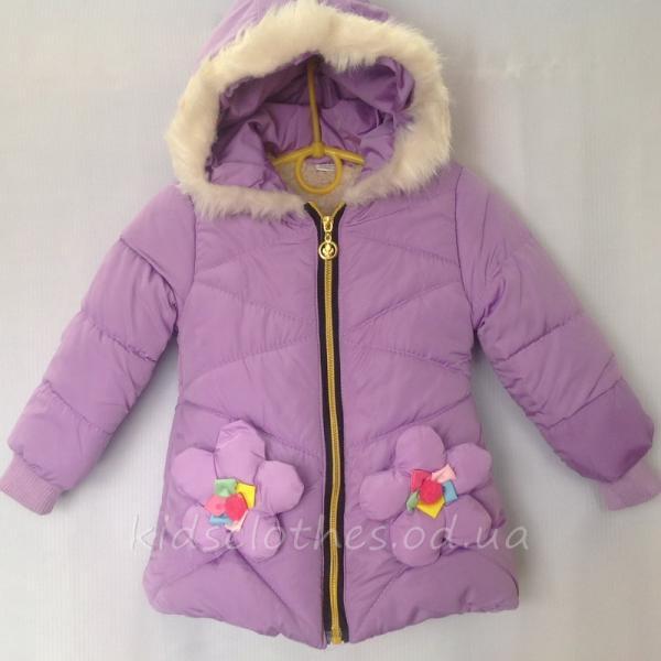 Куртка детская демисезонная утепленная для девочек - For Girl- сиреневая 2-4 года