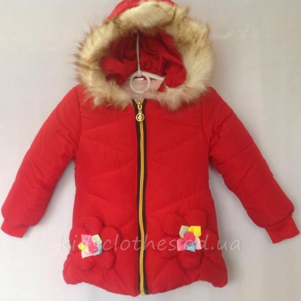 детская одежда недорого Куртка детская демисезонная утепленная для девочек - For Girl- красная 2-4 года