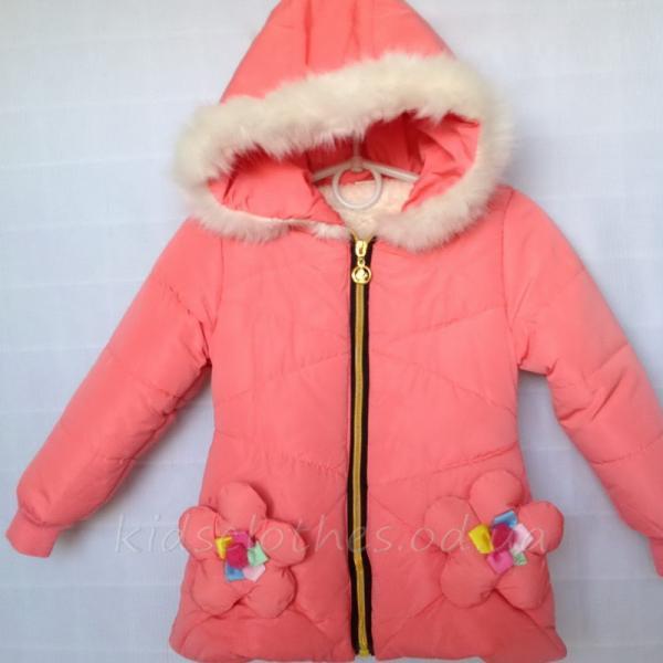 детская одежда недорого Куртка детская демисезонная утепленная для девочек - For Girl- персиковая 2-4 года