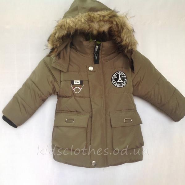 Куртка детская утепленная демисезонная для мальчиков -Fashion- светлый хаки 1-3 года