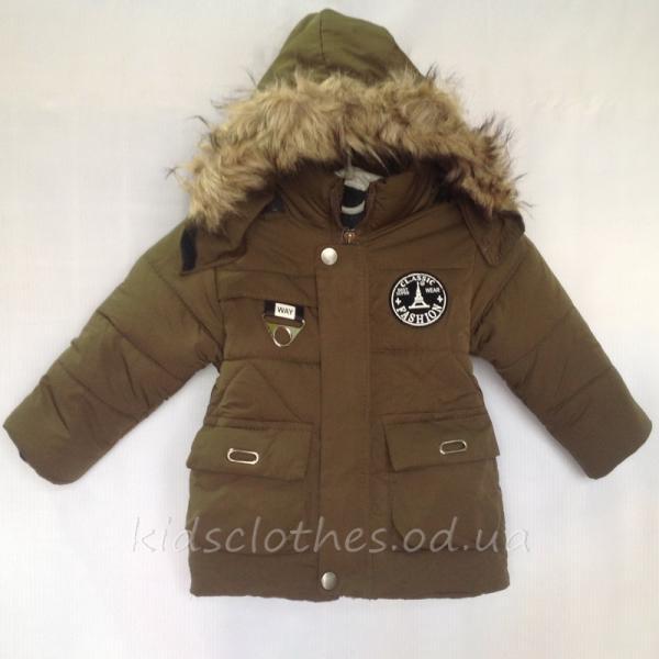 Куртка детская утепленная демисезонная для мальчиков -Fashion- хаки 1-3 года