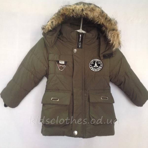 Куртка детская утепленная демисезонная для мальчиков -Fashion- серо-зеленая 1-3 года