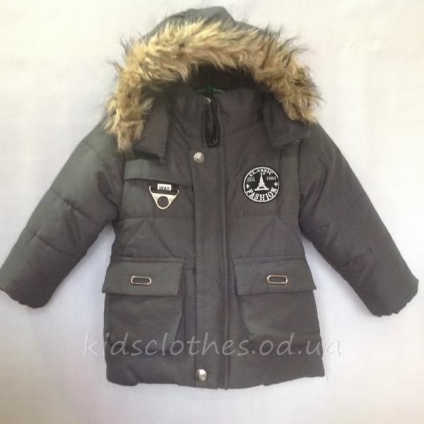 Куртка детская утепленная демисезонная для мальчиков -Fashion- серая 1-3 года