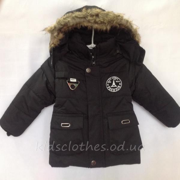 Куртка детская утепленная демисезонная для мальчиков -Fashion- черная 1-3 года