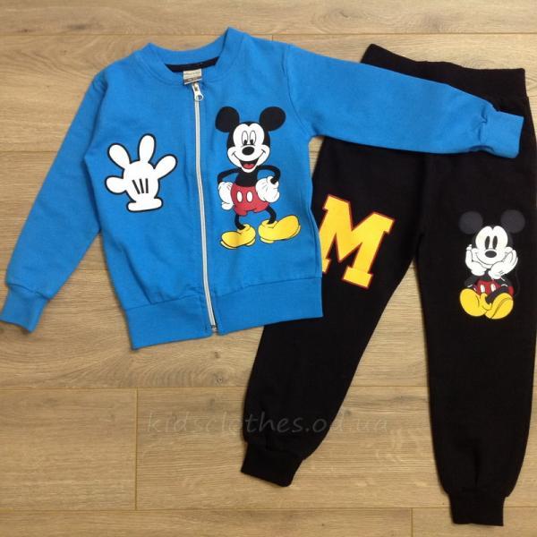 детская одежда недорого Комплект-двойка детский для мальчиков -Mickey Mouse- синего цвета 3-4-5-6 лет