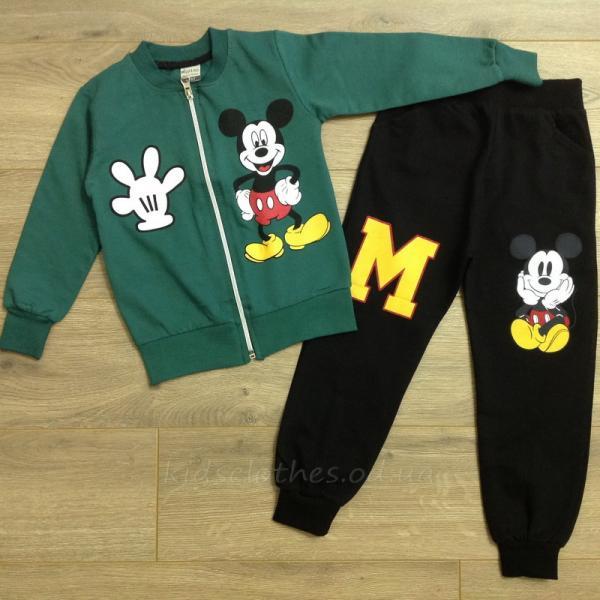 детская одежда недорого Комплект-двойка детский для мальчиков -Mickey Mouse- зеленого цвета 3-4-5-6 лет