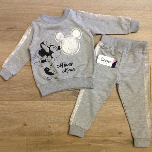 детская одежда недорого Комплект-двойка детский для девочек -Minnie Mouse- светло-серого цвета 2-3-4-5 лет