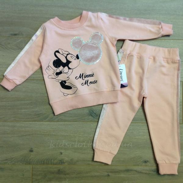 детская одежда недорого Комплект-двойка детский для девочек -Minnie Mouse- персикового цвета 2-3-4-5 лет