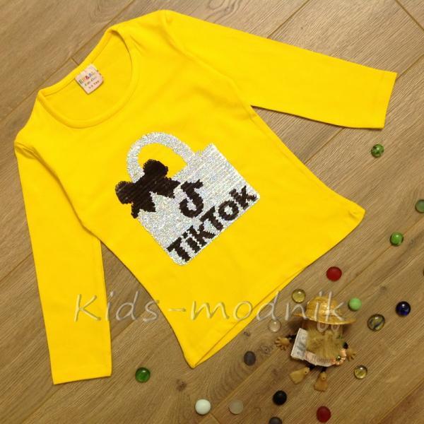детская одежда недорого Батник детский для девочек -Tik Tok- желтого цвета 2-4-6-8 лет