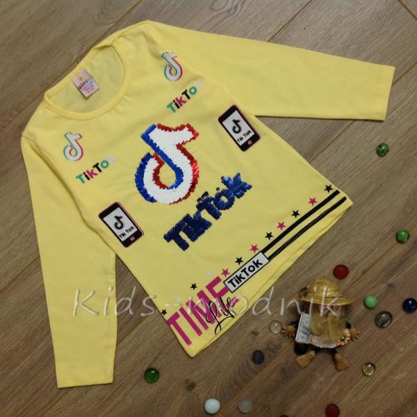 детская одежда недорого Батник детский для девочек -Tik Tok- желтого цвета 4-5-6-7-8 лет