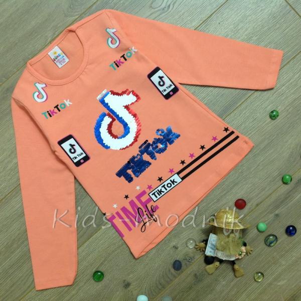 детская одежда недорого Батник детский для девочек -Tik Tok- персикового цвета 4-5-6-7-8 лет