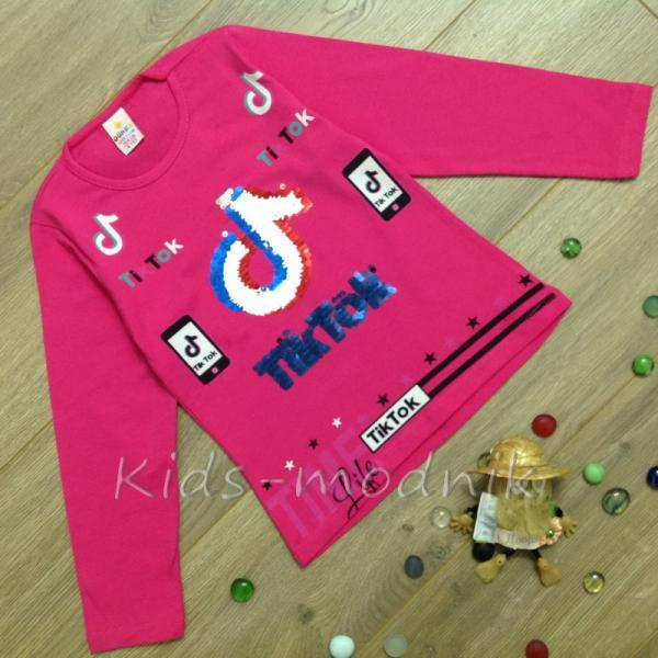детская одежда недорого Батник детский для девочек -Tik Tok- малинового цвета 4-5-6-7-8 лет