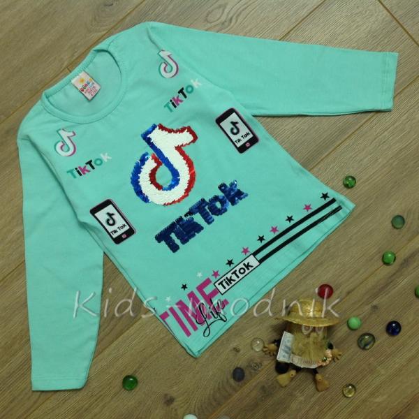 детская одежда недорого Батник детский для девочек -Tik Tok- бирюзового цвета 4-5-6-7-8 лет