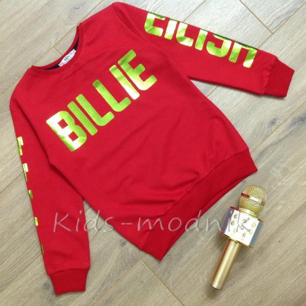 Свитшот подростковый для девочек -Billie Eilish- красного цвета 8-10-12-14 лет