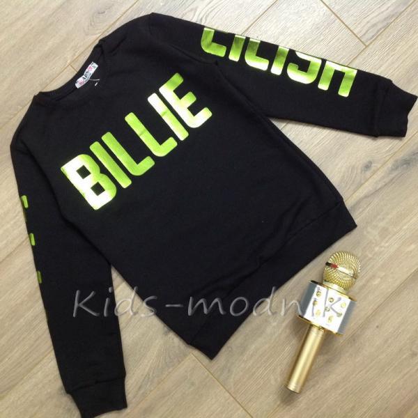 Свитшот подростковый для девочек -Billie Eilish- черного цвета 8-10-12-14 лет
