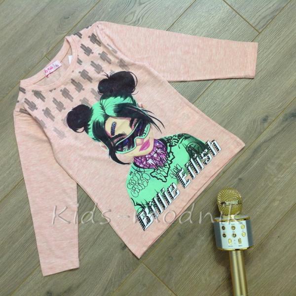 Батник детский для девочек -Billie Eilish- светло-розового цвета 5-6-7-8 лет