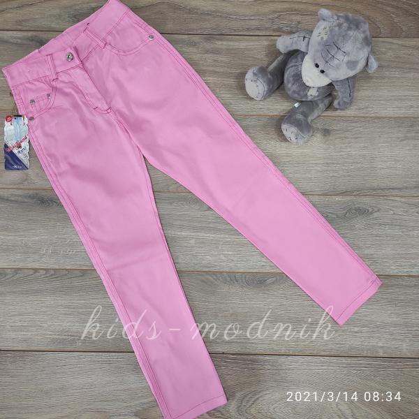 детская одежда недорого Брюки джинсовые для девочек -Wikiland- розового цвета 10-11-12 лет