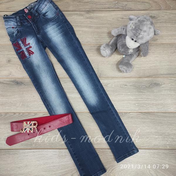 детская одежда недорого Брюки джинсовые стрейчевые детские для девочек -Richmond- 6-7-8-10 лет