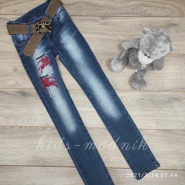 детская одежда недорого Брюки джинсовые стрейчевые детские для девочек -Burberry- 6-7-8-9-10 лет