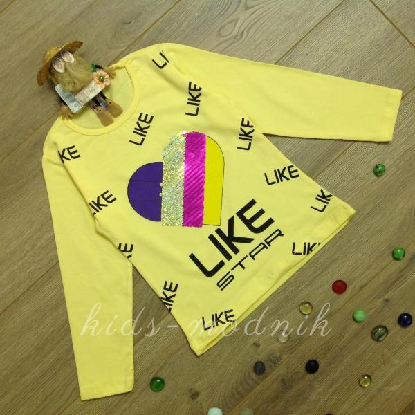 детская одежда недорого Батник детский для девочек -Like Star- желтого цвета 4-5-6-7-8 лет