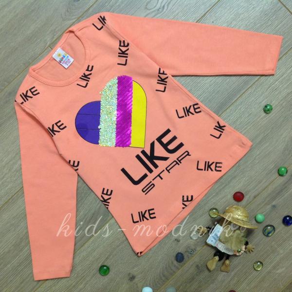 детская одежда недорого Батник детский для девочек -Like Star- персикового цвета 4-5-6-7-8 лет