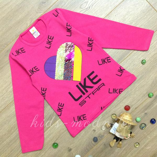 детская одежда недорого Батник детский для девочек -Like Star- малинового цвета 4-5-6-7-8 лет