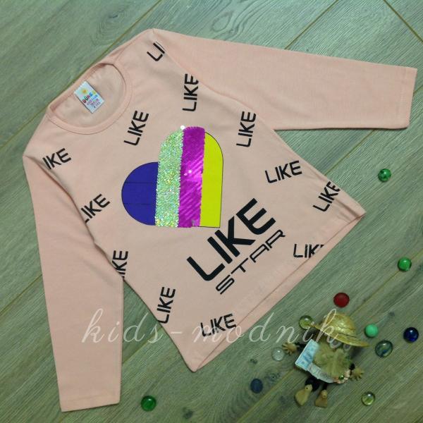 детская одежда недорого Батник детский для девочек -Like Star- цвет пудры 4-5-6-7-8 лет