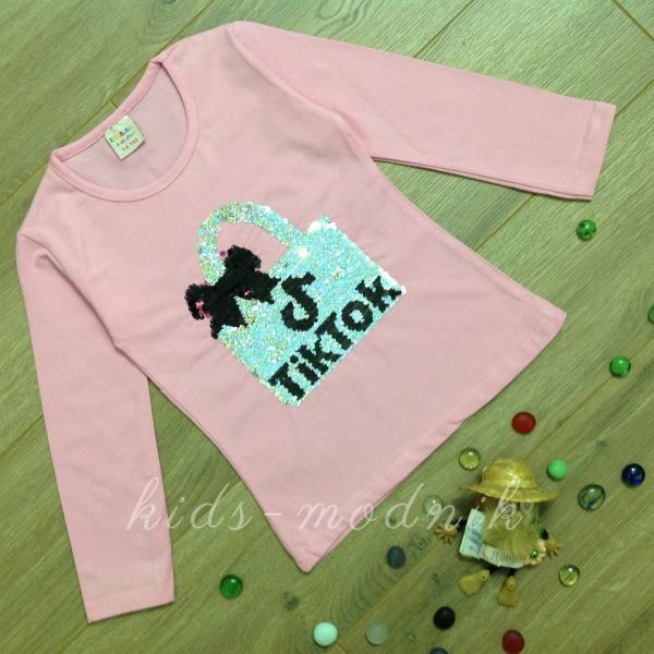 Батник детский для девочек -Tik Tok- светло-розового цвета 2-4-6-8 лет