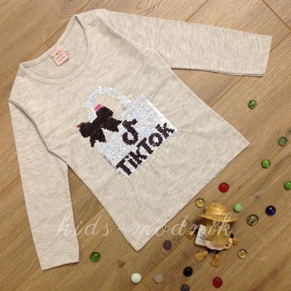 детская одежда недорого Батник детский для девочек -Tik Tok- светло-серого цвета 2-4-6-8 лет