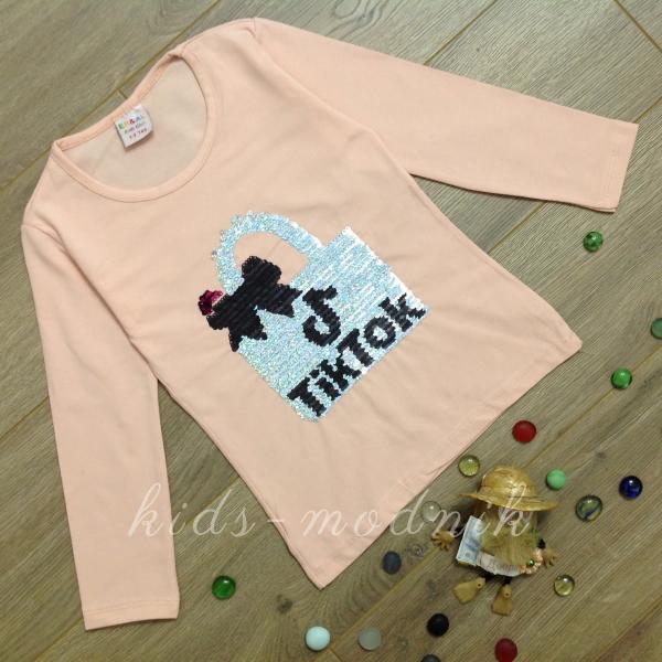 детская одежда недорого Батник детский для девочек -Tik Tok- цвет пудры 2-4-6-8 лет