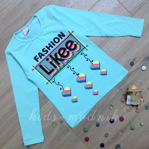 детская одежда недорого Батник подростковый для девочек -Fashion Likee- бирюзового цвета 9-10-11-12 лет